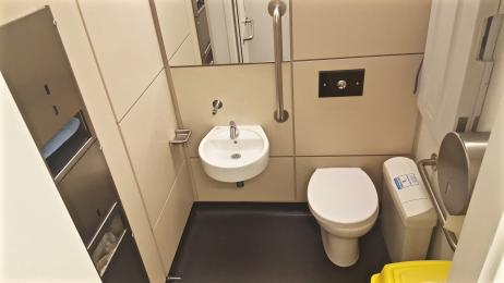 A photograph of the smaller accessible/baby changing toilets located on both floors.