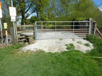 Fen trail- access gate at end of trail (metal gates do open) to cross railway tracks