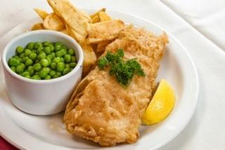 Fish and chips. Available as gluten free option also