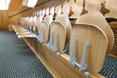 Flip up Seats in the Public Gallery of the Debating Chamber. This area is suitable for visitors using wheelchairs to be seated next to their companion. These seats should be booked in advance.