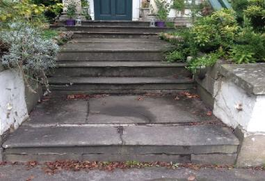 There are 7 steps from the pavement to the front door. 1 deep one, then a set of 3, then another set of 3.