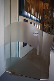 glass door with wave marking