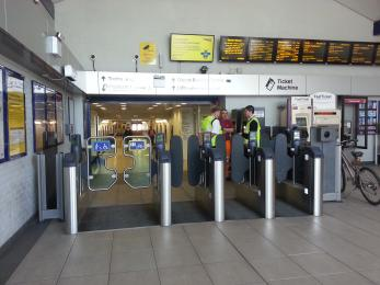 Ticket barriers at Didcot Parkway Station.  Visitors should ask station staff to let them through the barriers