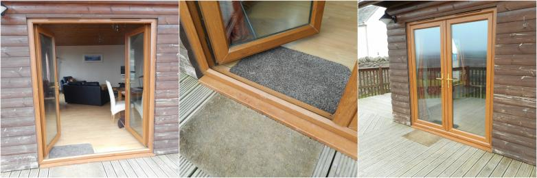 Images showing patio doors and lip to entrance