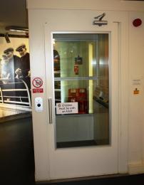 The lift door is hinged.
