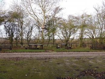 Wide view of picnic area close to access parking and toilet facilities. Access seating and table provided.