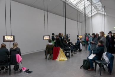 The largest Gallery space, during Pilvi Takala's Glasgow International 2016 Exhibition