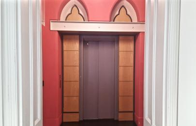 A photograph of the lift located near the Queen Street Entrance/Shop at RAMM: pictured on the ground floor.
