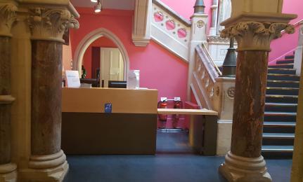 A photograph of the Queen Street Reception desk.