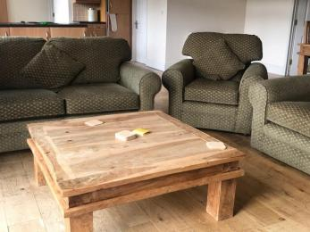 coffee table, 2 settees, armchair