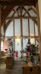 Another view of the shop, this time showing the medieval-style timber and plaster construction of the wall.