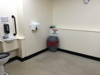 Stalls accessible toilet interior showing turning space.