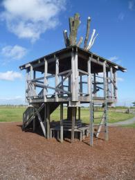 Climbing feature within Tree House Play Area with bark surfacing