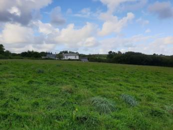 View across the grass field looking back at Little Causewell and Causewell Farm