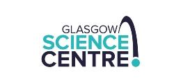 Glasgow Science Centre logo is comprised of the words Glasgow, Science and, Centre together with an arc and dot.