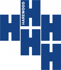 The Harewood logo is made up of five dark blue 'H' letters. The space between the letters looks like plus signs.