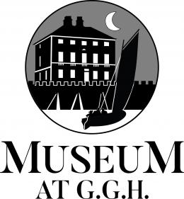 Logo of Gunsgreen House, a silhouette of Gunsgreen House at night with a crescent moon and a sailing boat coming.