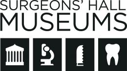 Dark blue museum logo. logo has Surgeons' Hall Museums at the top and underneath are 4 boxes each with a different symbol.