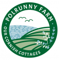 Polrunny Farm's logo - green fields gently sloping down to the sea beyond, with birds flying overhead and berries in a bush.