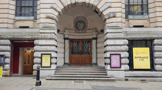 Gas Hall entrance, Edmund Street. The lift entrance is on the left hand side.