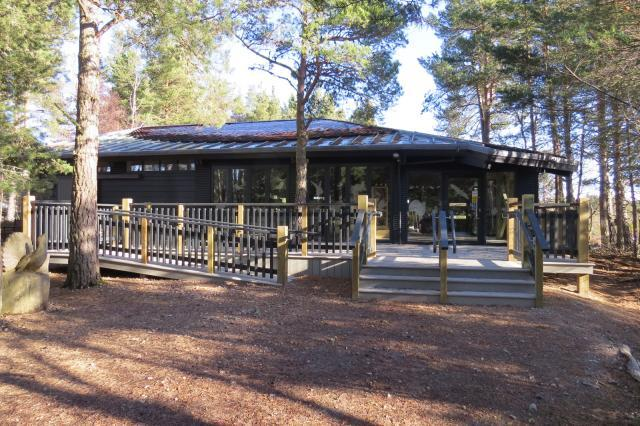 Visitor Centre in the forest with accessible entrance and decking