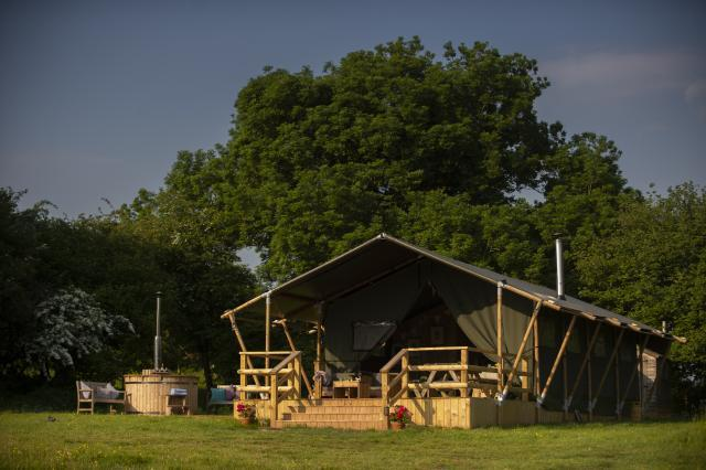 We offer glamping in safari tents and yurts