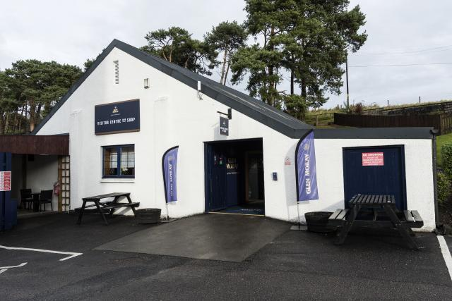Glen Moray Visitor Centre with outside seating and entrance ramp