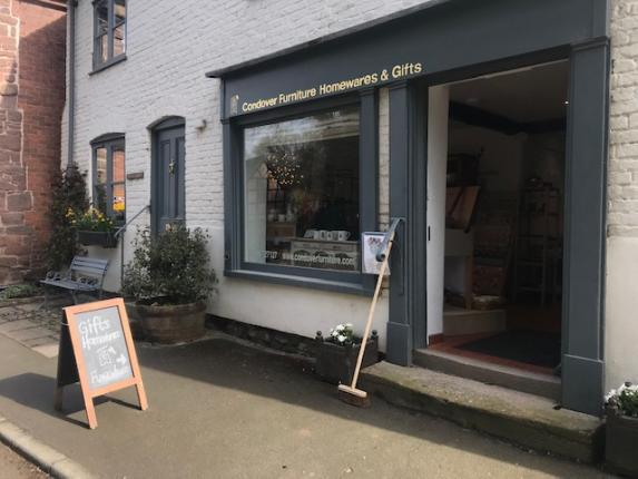 Photo of exterior of Condover Furniture, Homewares & Gifts, including pavement & road, Church Street, Condover SY5 7AA