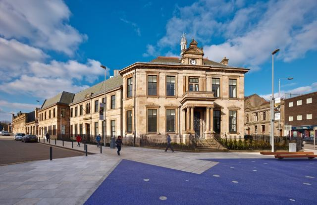 Image of Maryhill Burgh Halls facade during daytime