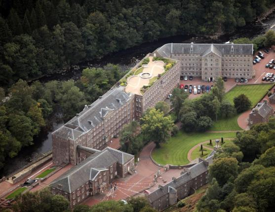 An aerial view of New Lanark World Heritage Site