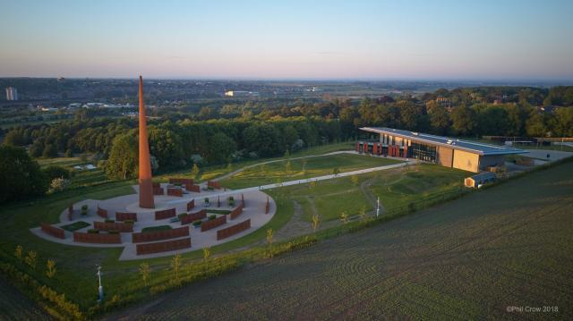 Overhead shot showing the Memorial Spire, Walls of Names, Gardens and Chadwick Centre