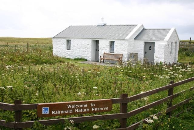 Balranald visitor centre is small white-washed blackhouse surrounded by wild flowers.